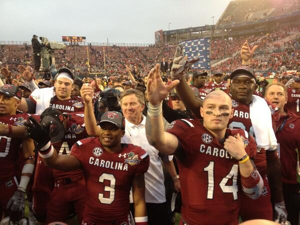 A final toast to 2013, and to number 14. (photo courtesy of gogamecocks.com)
