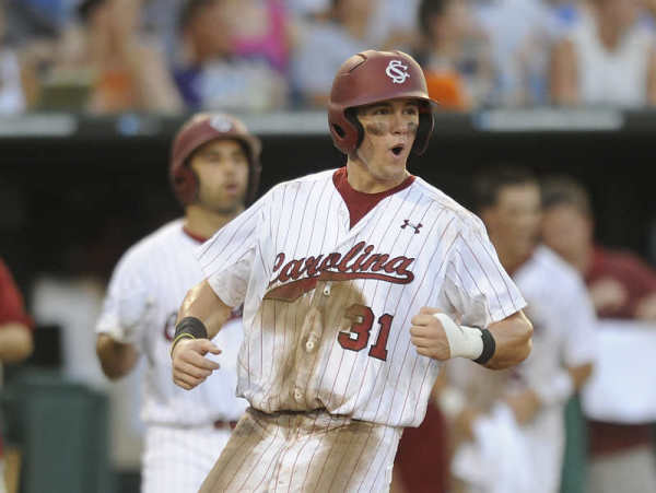 Evan Marzilli reacts to scoring the go-ahead run in South Carolina's 4-3 win over Clemson. (Photo: gamecocksonline.com)