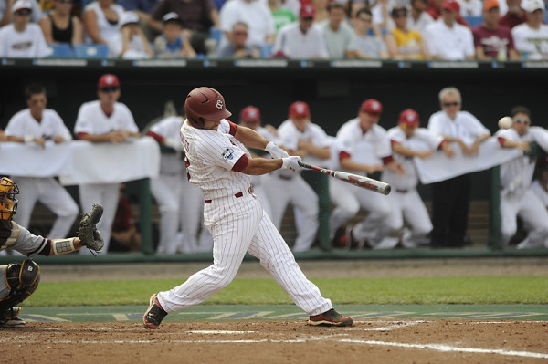 Adrian Morales cranks a 2-run homer off the fair pole in USC's 11-4 drubbing of Arizona State. (Photo: gamecocksonline.com)