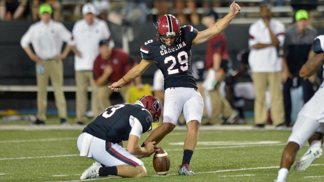 Sep 1, 2016; Nashville, TN, USA; South Carolina Gamecocks place kicker Elliott Fry (29) kicks the winning field goal against the Vanderbilt Commodores during the second half at Vanderbilt Stadium. South Carolina won 13-10. Mandatory Credit: Jim Brown-USA TODAY Sports